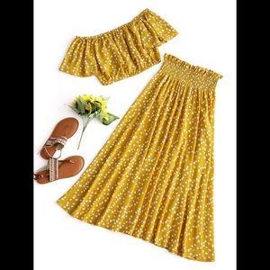 Yellow Polka Dot Crop Top & Skirt Set 💛🌞